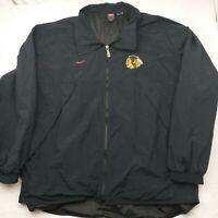 Vintage Nike Team Men's XL Black Full Zip Chicago Blackhawks Jacket NHL Nylon