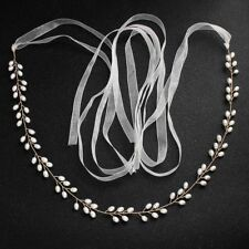 Luxury Gold Color Wired Pearl Wedding Belt Ribbon Bridal Waistband Belly Chain