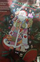 Christmas Stocking Cross Stitch Kit Santa Dog Cat Linda Gillum Bucilla OOP New