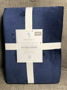Pottery Barn Kids Luxe Chamois Fitted Sheet ONLY Twin Navy Cozy Luxurious Feel