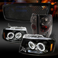 04-08 F150 Black Halo LED Projector Headlights+Grille+Smoke Tail Lamps