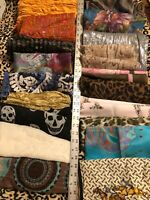Large Lot 20 Vintage Women's Beautiful Long Scarves Kerchiefs Big Assortment
