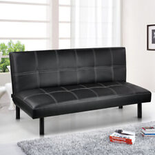 Foldable Faux Leather Sofa Bed Click-clack Couch Futon Wooden Sofabed