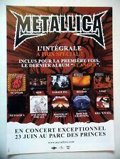 PUBLICITE-ADVERTISING :  METALLICA  2004 pour la sortie de l'intégrale