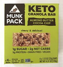 Munk Pack KETO Granola Bar Almond Butter Cocoa Chip 4 Bars-1g Sugar 2g Net Carb
