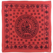 """Nouveau Bouddha Bandana Rouge/Bandana écharpe 100% coton méditation Sanskrit Dharma 24"""""""