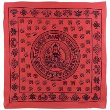 "New Buddha Red Bandana/Bandanna Scarf 100% Cotton Meditation Sanskrit Dharma 24"""