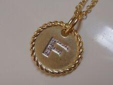 DAVID YURMAN 18K GOLD INITIAL F DIAMOND CHAIN NECKLACE