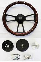 """Chevelle Nova Camaro Impala 14"""" Steering Wheel Mahogany Wood Black Spokes SS Cap"""