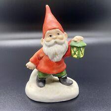 "Vintage 1979 Enesco Christmas Gnome Figure w/ Lantern - 3 1/2"" Ceramic Garden"