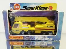 Matchbox Superkings K-12 Hercules Mobile Crane  Yellow in Box