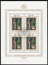 Liechtenstein Scott # 674 VF Used 1979 Patron Saints of Liechtenstein Mini-Sheet