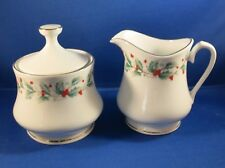 China Pearl NOEL Christmas Dinnerware - Sugar Bowl with Lid and Creamer - EUC