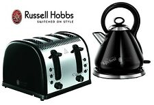 Russell Hobbs Kettle and Toaster Set Black Legacy Kettle & 4 Slice Toaster New
