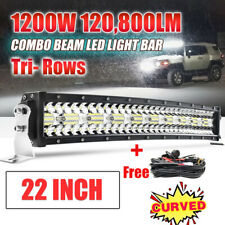 "12D 3 ROW CREE 22INCH 1200W LED Light Bar Flood Spot Offroad Fog Lamp 20"" 23"" 24"