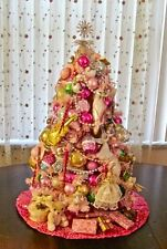 """Shabby PINK Chic 28"""" Tall Pre-Lit DECORATED Romantic TABLE-TOP CHRISTMAS TREE"""