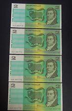 Two Dollar Australia Note X4 Johnston/Fraser KUF 882770,771,772,773 Exc Con 17