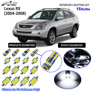 15 Bulbs Cool White LED Interior Dome Light Kit For (XU30 2004-2008) Lexus RX
