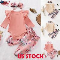 3PCs Newborn Baby Girl Floral Jumpsuit Romper Bodysuit Pants Outfit Clothes US