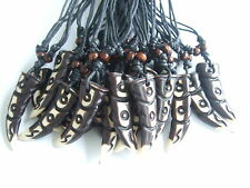 12pcs Ethnic Tribal Yak Bone Carved Brown Tooth Teeth Pendant Necklace 55mm