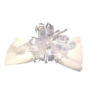 4 Elegant Stunning Reusable White Silver Satin and Organza Napkin Rings