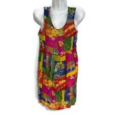 Vintage 90s Carole Little Summer Dress Boho Watercolor Floral Cutout Petite