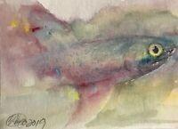 ACEO Original painting Shark Fish Ocean Originals art direct from artist EAEH US