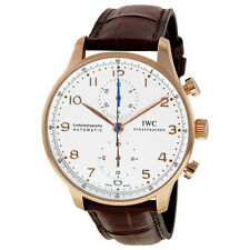 IWC Portuguese Silver Dial Chronograph Rose Gold Automatic Mens Watch IW371480