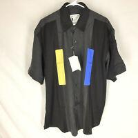 GOOUCH Men's Large Short Sleeve Shirt Silk Button-Up 90s Abstract Art NWT VTG