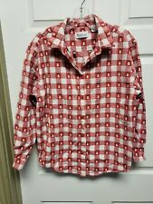 b2f63359e7d WEST BOUND Womens Top Size M Red White Check Snowmen Button Down Long Sleeve