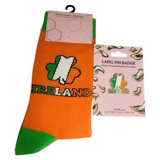 Eire, Ireland, Irish Shamrock Ladies Gifts, Novelty Socks or Lapel Pin Badges