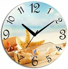 Wooden Beach Wall Clock(29 cm x 29 cm x 3 cm) Bedroom Kitchen Office Decorative