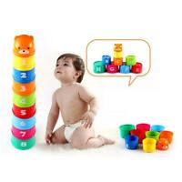 9PCS Early Education Baby Figures Toys Folding Stack Cup Tower Educational Toys