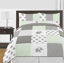Watercolor Elephant Safari Mint Grey White Sweet Jojo Full Queen Bedding Set