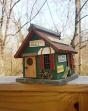 Little Red & Green School House Unused Hanging Decorative Wood Bird House
