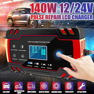 12/24V Pulse Repair LCD Charger Automatic Car Lead Acid Battery Charger 6-150Ah
