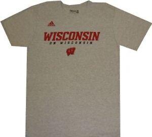 Wisconsin Badgers Adidas Grey Wordmark T Shirt $25.00 Clearance