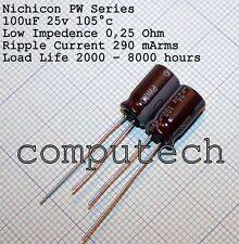 100uF 25V 105°C Condensatore Nichicon PW Bassa Impedenza, long life 5 pezzi
