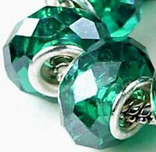 Faceted Crystal Fit Charm Bracelet Beads- Green (8)