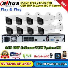 Dahua 8Ch 2Sata Nvr Cctv System Mic 5Xzoom 6Mp Bullet Ip Camera Hfw4631H-Zsa Lot