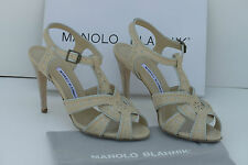 Manolo Blahnik strappy sandals light blue and cream leather,new 39.5, 9.5