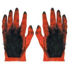 Red Hairy Latex Hands Devil Monster Halloween Fancy Dress Accessory