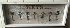 7 METAL KEY HOOKS WOODEN FRAMED STYLE WALL HANGING CHIC SHABBY