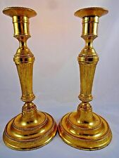 Set of 2 Antiqued Metal Brass Gold Candlesticks Fluted Beaded Heavy 11x5.25