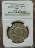 1968 Portugal pedro alvares cabral NGC MS63 population of 1 european silver coin