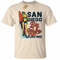 San Diego Big Wave Surfing T-Shirt Mens surf beach surfers top tee usa holiday