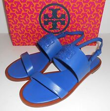 Auth TORY BURCH Powder Coated 'Melinda' Veg Nappa Sandal Sz 8 ~ Jelly Blue ~ NIB