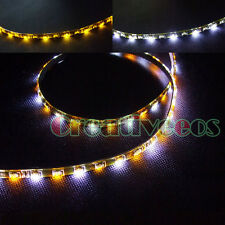 "2Pcs White/Yellow 30CM 12"" 30LEDs SMD Side-emitting LED Strip Turn Signal Light"