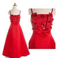 Red Wedding Flower Girl Strap Dress Bridesmaids Party Prom Gown Age 2-11 Years