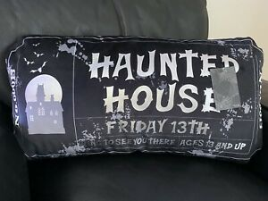 """Halloween Accent Throw Pillow Haunted House Ticket Home Decor Spooky New 24""""x12"""""""